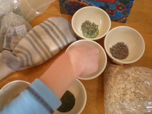 sock bath herbs